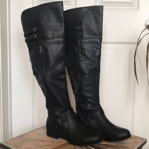 EUC Size 10 Black Faux Leather Over the Knee Boots